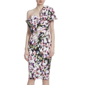 Badgley Mischka Floral Printed Bow Front Dress